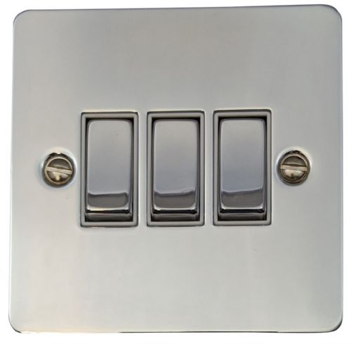 G&H FC203 Flat Plate Polished Chrome 3 Gang 1 or 2 Way Rocker Light Switch